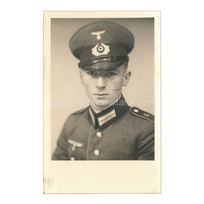 Portrait photo of German Army soldier with facial scar Germany 1933–1945