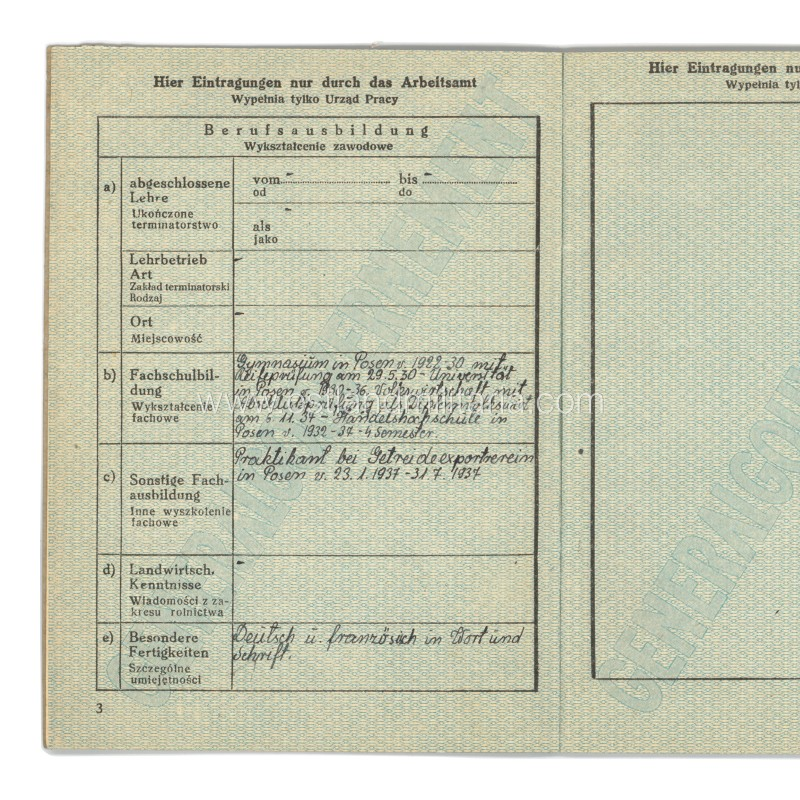 Generalgouvernement Arbeitskarte and a certificate, 1943 Germany 1933–1945