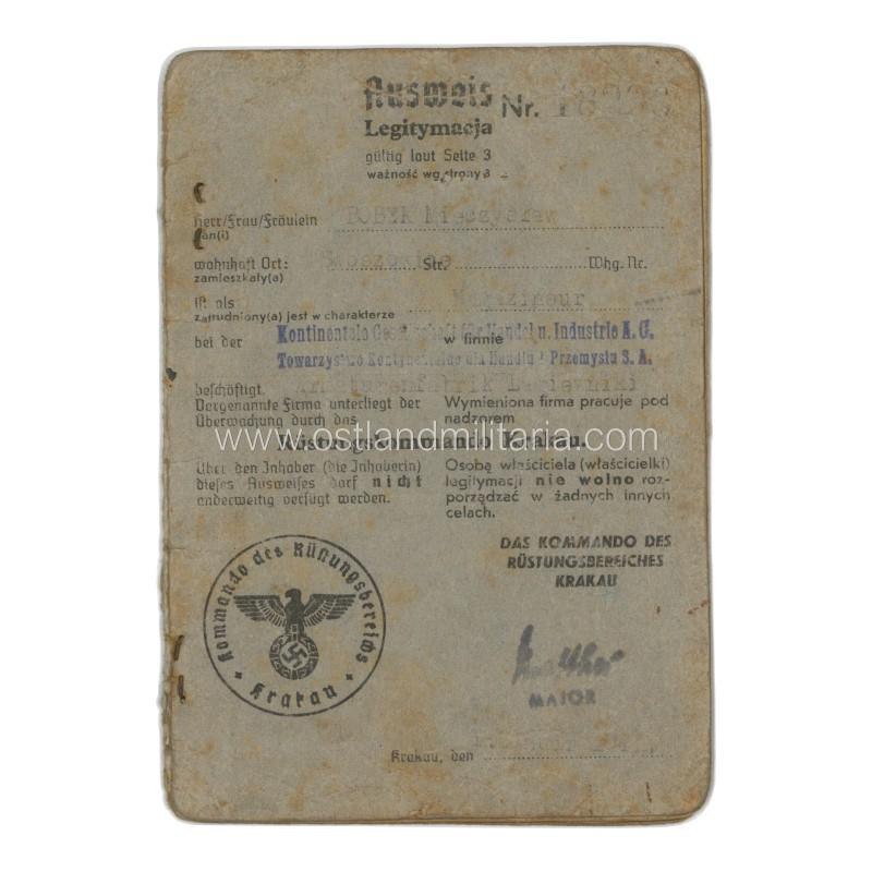 An employee ID of Kontinentale Gesellschaft für Handel u. Industrie A.G. Germany 1933–1945