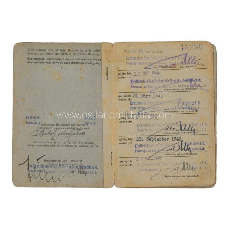 An employee ID of Kontinentale Gesellschaft für Handel u. Industrie A.G.