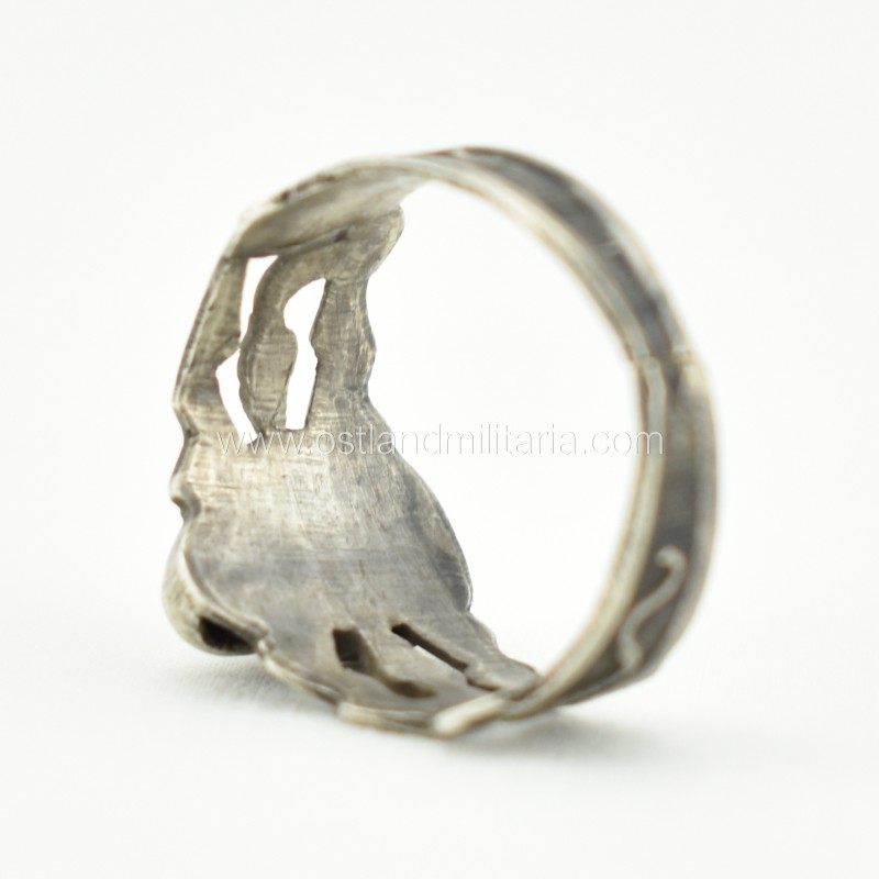 Silver ring with a skull and snakes, Russian Empire Russia