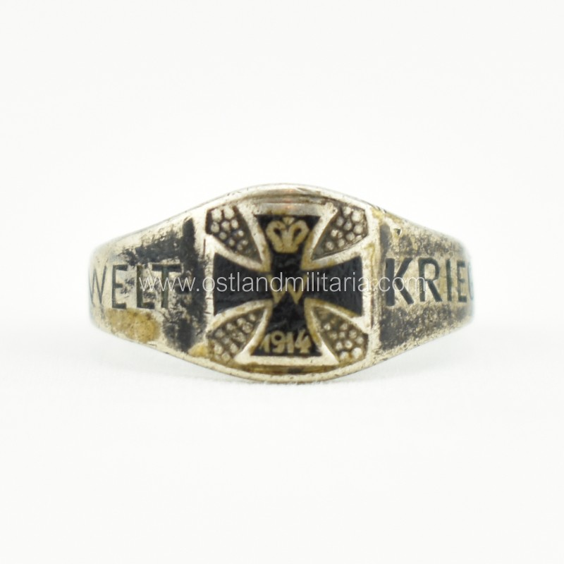 WWI Iron Cross ring, WELTKRIEG, broken Germany