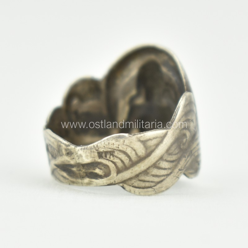 Silver ring with mermaid, Russian Empire Russia