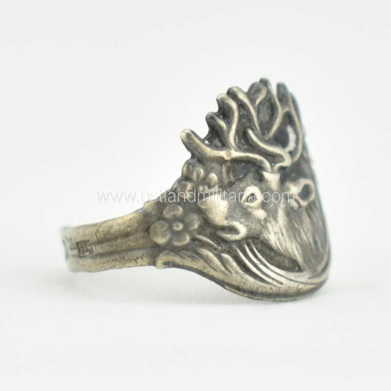 Silver ring with the reindeer, Russian Empire Russia