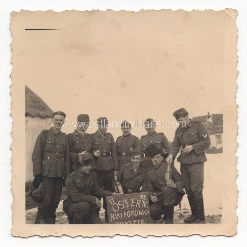 Set of two German Army soldiers group photos, Nikiforowka, 1942 Germany 1933–1945