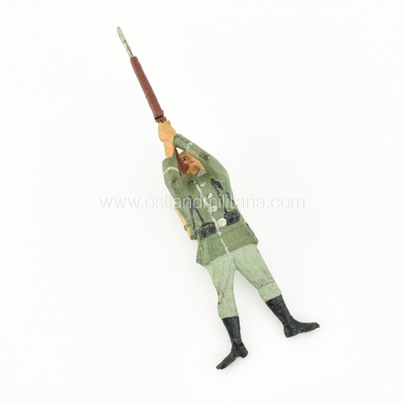 German Elastolin toy soldier with a rifle, prone shooting position Germany 1933–1945