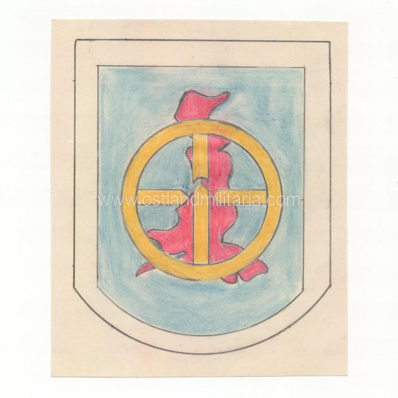 Pieštukais pieštas dalinio emblemos projektas, KG26 Vokietija 1933–1945 m.