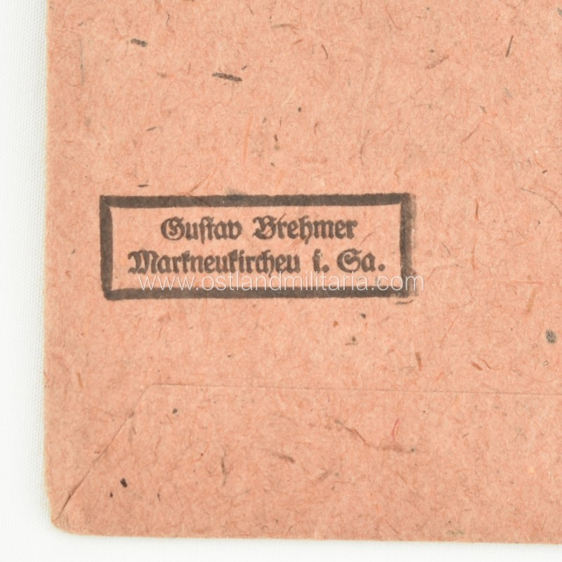 Eastern Front Medal with issue packet, '13' Gustav Brehmer Germany 1933–1945