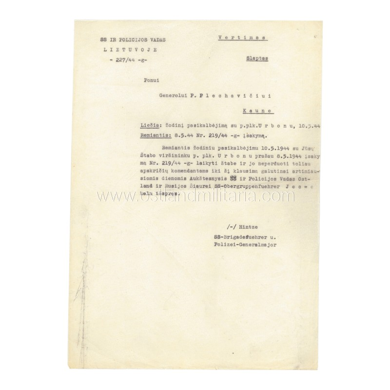 SS- und Polizeiführer letter to P. Plechavičius, 1944 Germany 1933–1945