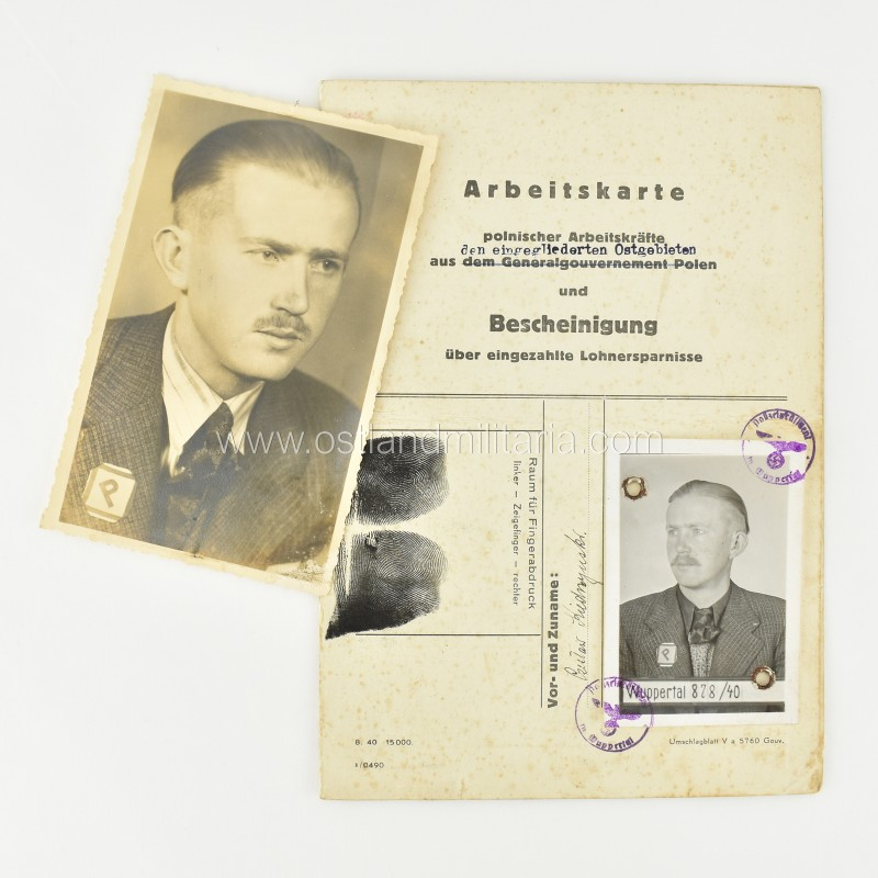 Arbeitskarte + photo of a Polish Zivilarbeiter Germany 1933–1945