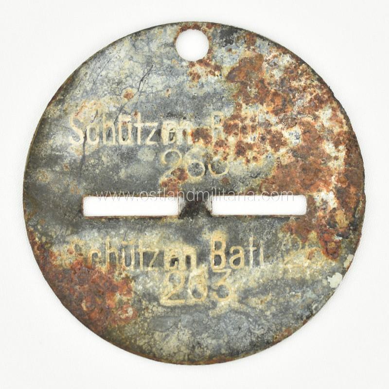 Latvian auxiliary police battalion 26 dog tag - Schutzm. Batl. 26 Germany 1933–1945
