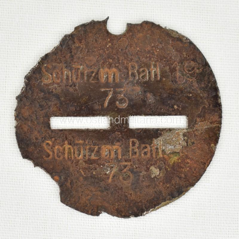 Latvian auxiliary police battalion 19 dog tag - Schutzm. Batl. 19 Germany 1933–1945