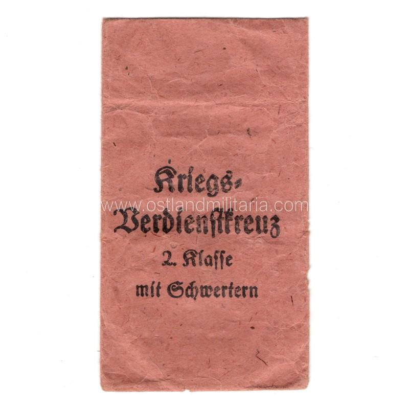 2-ojo laipsnio kryžiaus už karinius nuopelnus su kardais įteikimo vokas Vokietija 1933–1945 m.