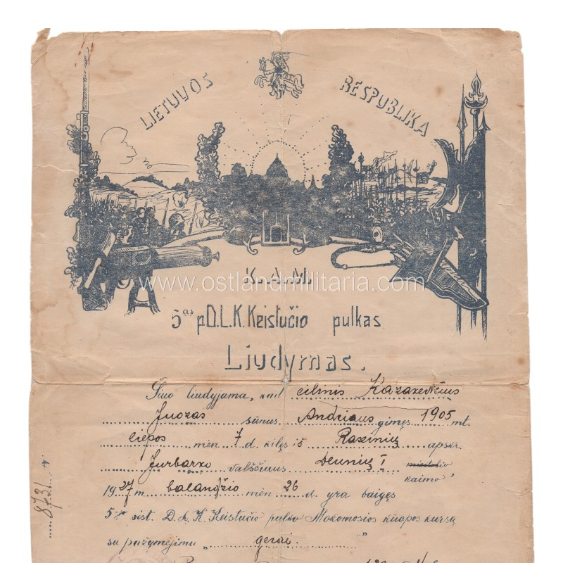 5th Infantry Regiment of Lithuanian Grand Duke Kestutis certificate, 1927 Lithuania