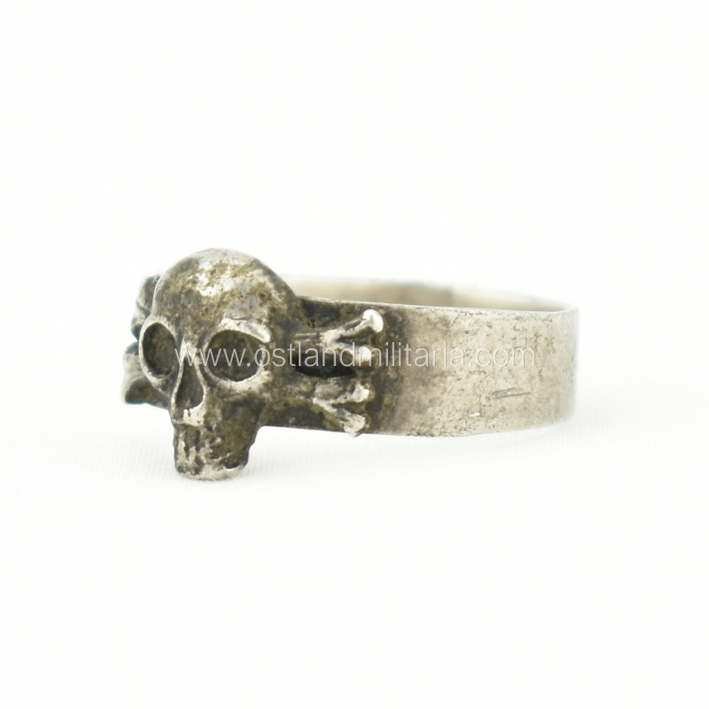 Silver ring with a skull and crossbones, Russian Empire Russia