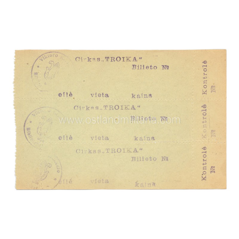 "Interwar Lithuania ""TROIKA"" circus tickets Lithuania"