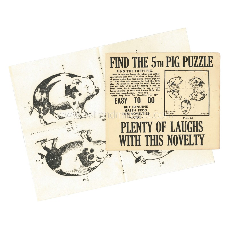 "Anti-German propaganda fold-up puzzle ""Find the 5th pig"" with original envelope Other countries"
