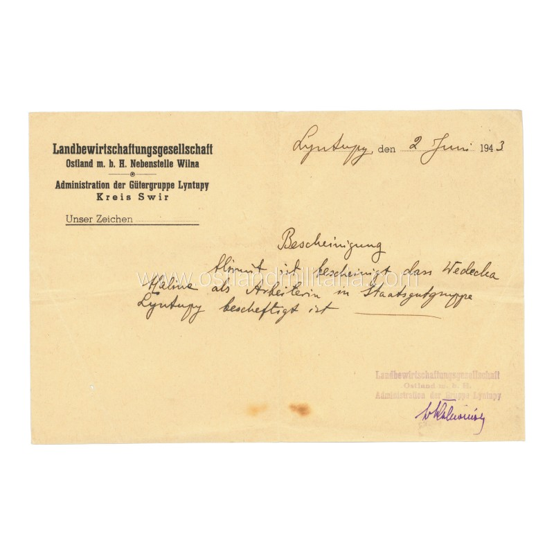 Document issued in occupied Lithuania for a female worker Germany 1933–1945